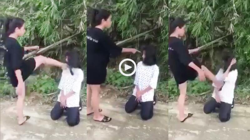 Xuất hiện clip nữ sinh liên tiếp chửi bới, bắt quỳ gối, đánh đập một bạn nữ khác